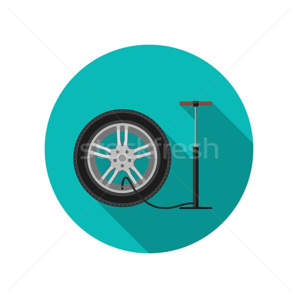 Autógumi szolgáltatás ikon hosszú árnyék vektor Stock fotó © biv