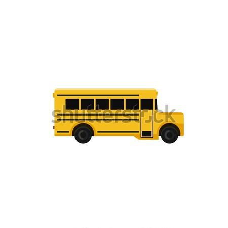 Iskolabusz ikon stílus vektor egyszerű illusztráció Stock fotó © biv