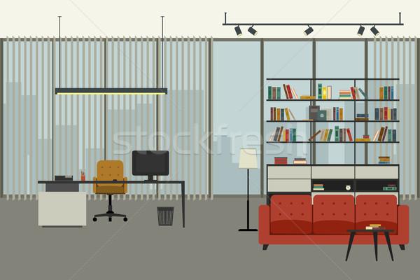Oficina interior estilo de trabajo lugar estante para libros Foto stock © biv