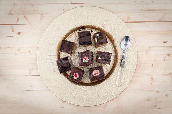 Ruw veganistisch cake heerlijk stukken voedsel Stockfoto © blanaru