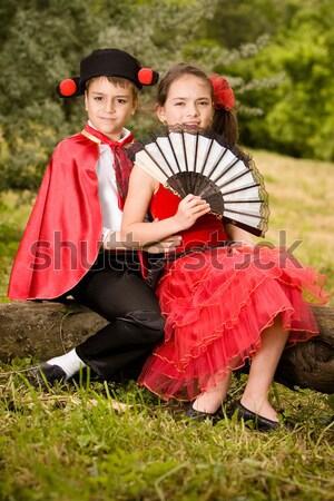 Meghívó portré fiatal pér spanyol stílus ruhadarab Stock fotó © blanaru