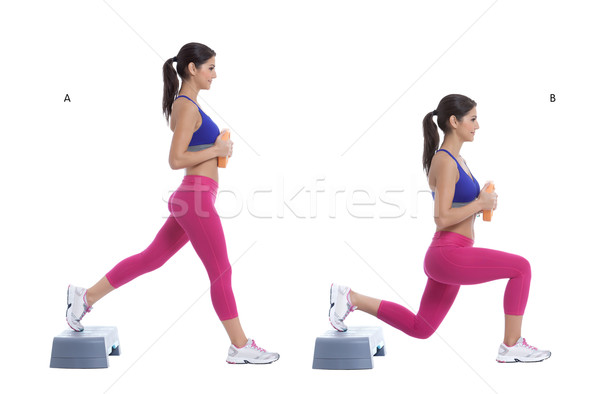 Step lunge with disc weight Stock photo © blanaru