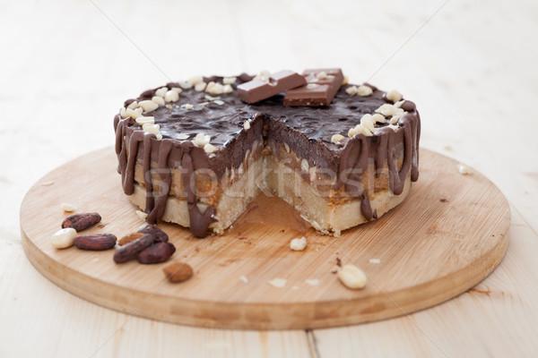 Nyers vegan torta csokoládé desszert krém Stock fotó © blanaru