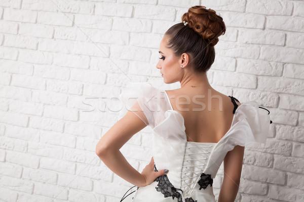 ウェディングドレス ポーズ 若い女性 着用 白 女性 ストックフォト © blanaru