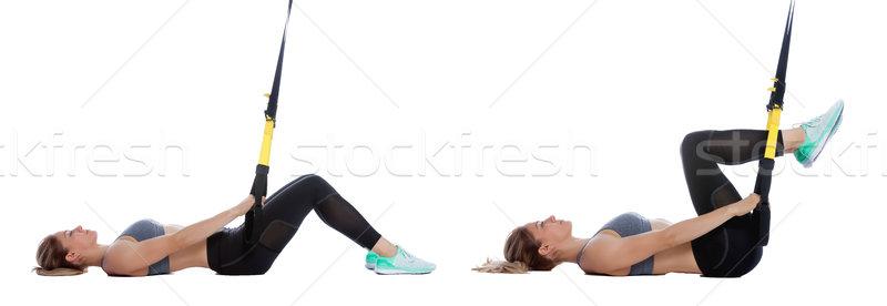 TRX bent leg raise Stock photo © blanaru