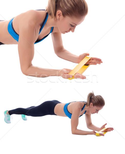 Elastisch band plank professionele vrouw Stockfoto © blanaru