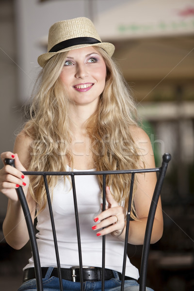 Kalap szőke lány boldog fém jókedv Stock fotó © blanaru