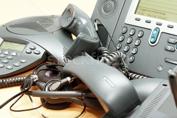 Telefon őrület iroda voip telefonok asztal Stock fotó © blanaru
