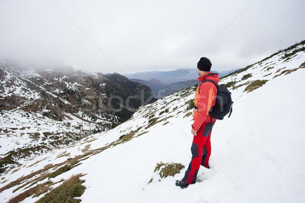 Man top bergen nu mooie stilte Stockfoto © blanaru