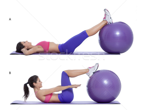 Swiss ball crunch  Stock photo © blanaru
