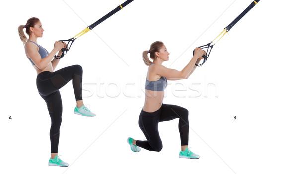 Dengelemek kadın egzersiz süspansiyon Stok fotoğraf © blanaru