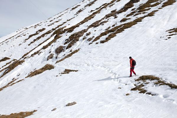 Adam dağlar yürüyüş sonbahar küçük kar Stok fotoğraf © blanaru