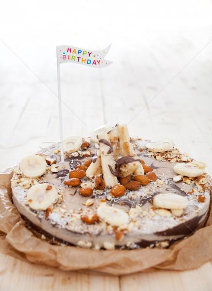 Doğum günü pastası vegan lezzetli kek doğum günü Stok fotoğraf © blanaru