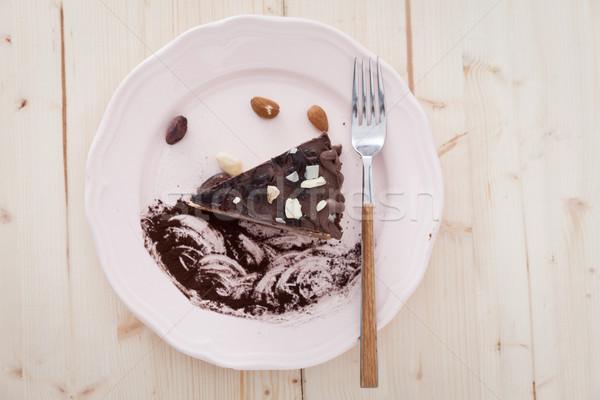 Ruw veganistisch plaat plakje cake witte Stockfoto © blanaru