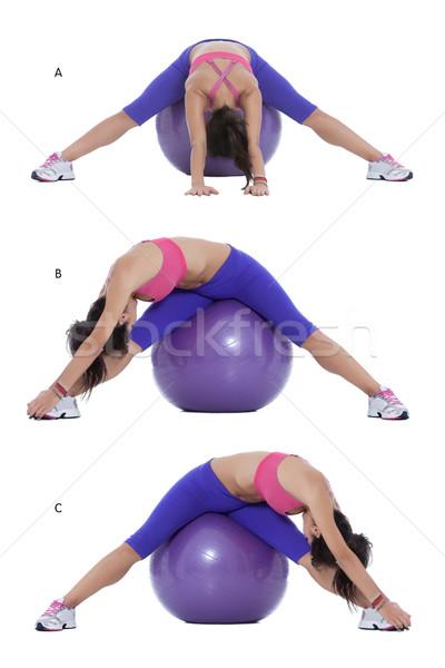 Foto stock: Ejercicio · pelota · paso · instrucciones · encajar