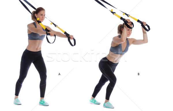 Triceps presse athlétique femme exercice Photo stock © blanaru