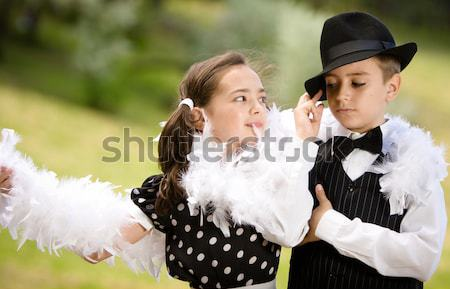 Stock fotó: Retró · stílus · ruhadarab · fiatal · pér · tánc · szórakozás · több