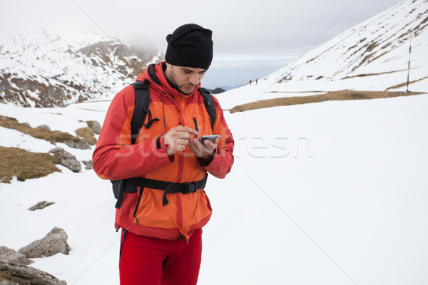 Man at top of the moutains Stock photo © blanaru