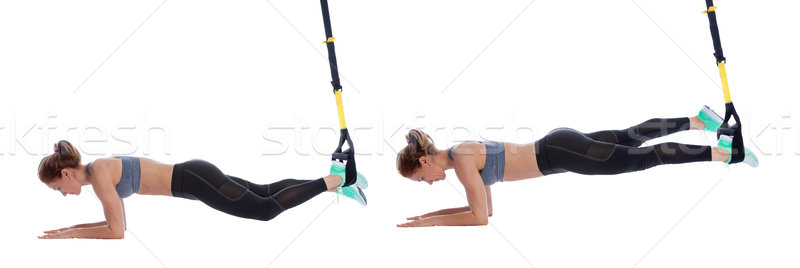 TRX plank, single leg Stock photo © blanaru