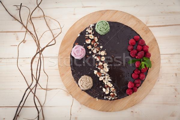 Vegan bolo saboroso bolo de chocolate Foto stock © blanaru