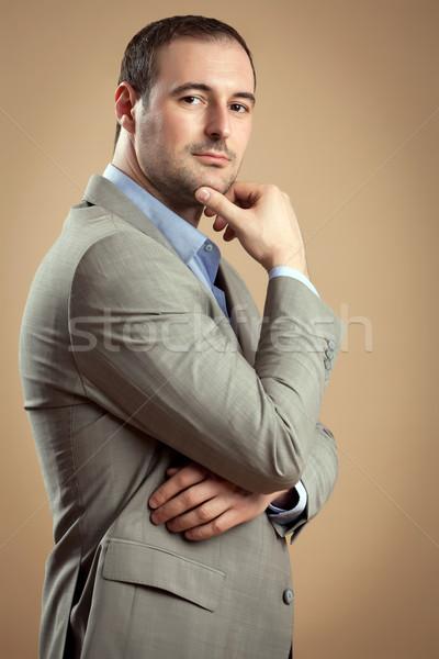 小さな ビジネスマン ハンサム スーツ ストックフォト © blanaru