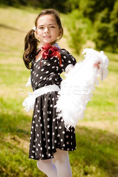Táncos fiatal retró stílus lány vár társ Stock fotó © blanaru