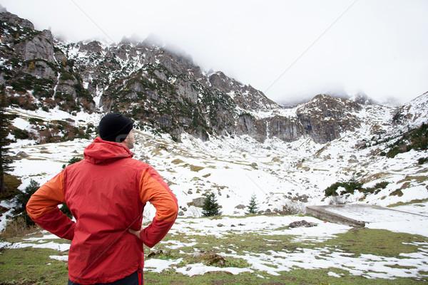Uomo panorama giovane mozzafiato view montagna Foto d'archivio © blanaru