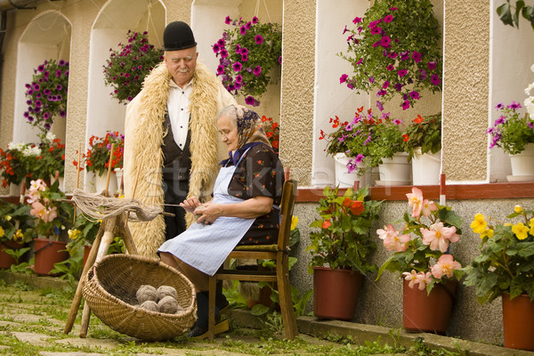Casal velho retrato romeno tradicional país lado Foto stock © blanaru