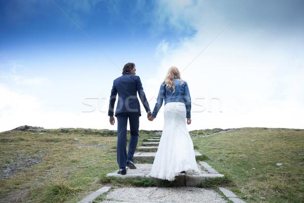 Lopen hemel echtpaar pad Stockfoto © blanaru