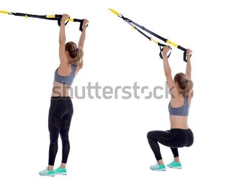 Flexível banda coluna profissional treinador mulher Foto stock © blanaru