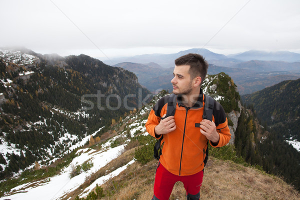 Man on top of the moutains Stock photo © blanaru
