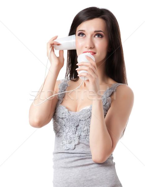 Estaño teléfono morena hablar mujer feliz Foto stock © blanaru