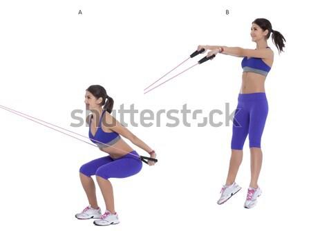 Súlyzó lépés utasítások tart pár súlyzók Stock fotó © blanaru