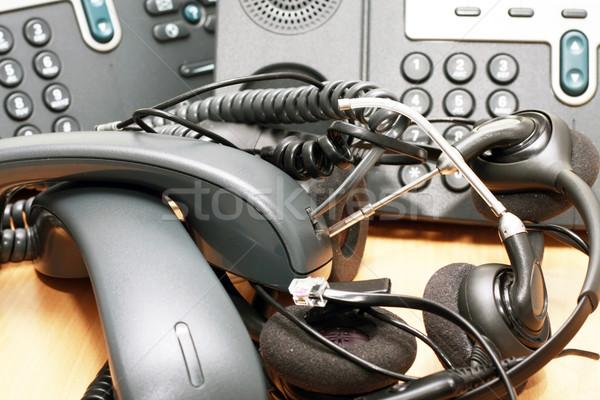 Telefon őrület iroda telefonok asztal munka Stock fotó © blanaru
