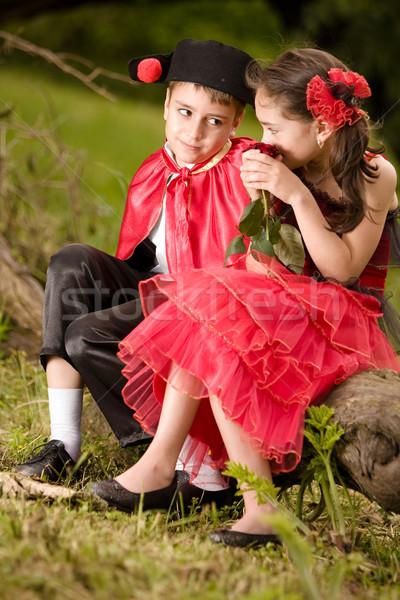 Rózsa portré fiatal pér spanyol stílus ruhadarab Stock fotó © blanaru