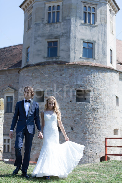 Perfeito dia recém-casado casal andar Foto stock © blanaru