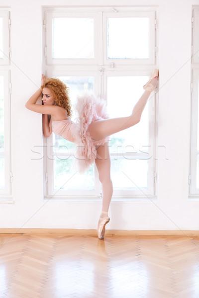 Równowaga baleriny stwarzające okno kopia przestrzeń Zdjęcia stock © blanaru