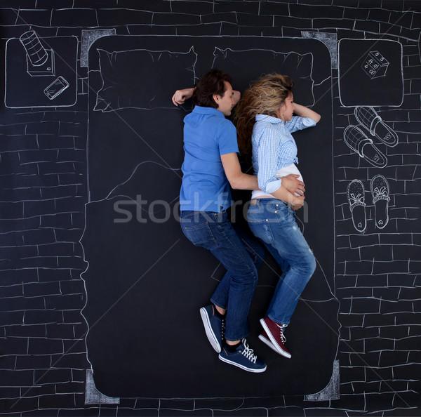 Slapen bed samen holding handen man Stockfoto © blanaru