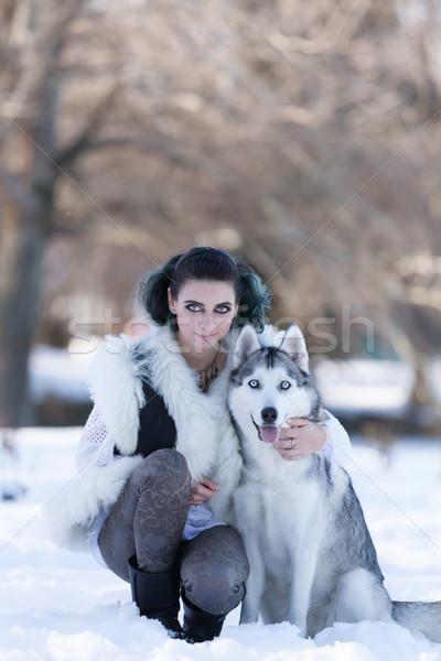 Lenyűgöző szemek nő mosoly kutya szeretet Stock fotó © blanaru