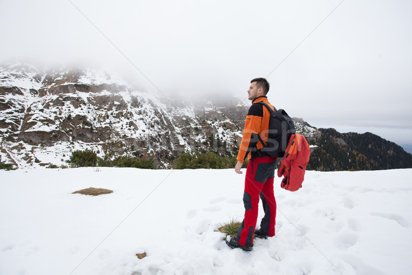Young man admiring moutains Stock photo © blanaru