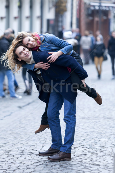 Feliz casal sorridente ao ar livre Foto stock © blanaru