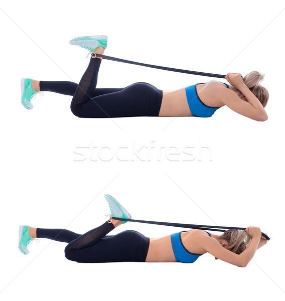 Flexível banda profissional treinador mulher esportes Foto stock © blanaru