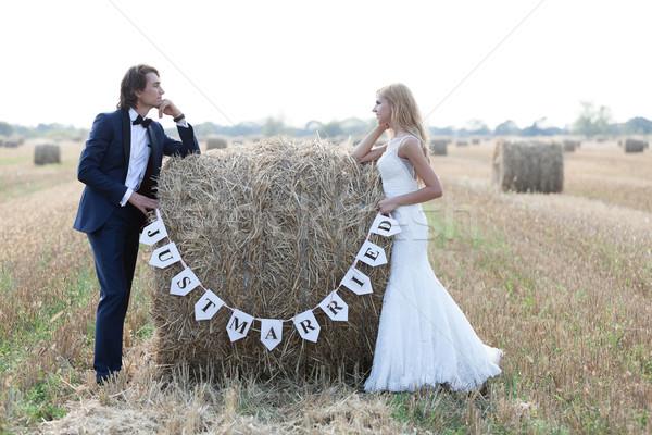 Friss házasok házaspár áll széna bála írott Stock fotó © blanaru