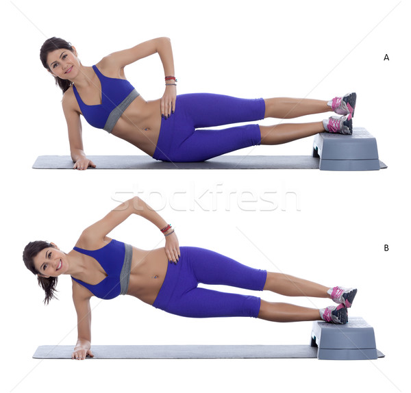 Side plank hip raise Stock photo © blanaru