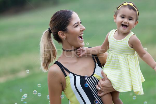 Anne kız park kız gülümseme Stok fotoğraf © blanaru