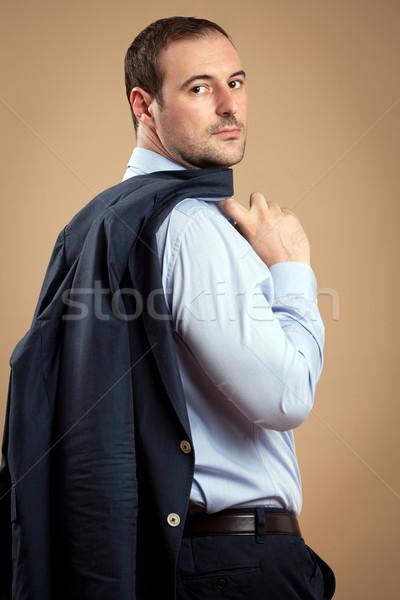 Foto stock: Bem · sucedido · empresário · homem · casual · perfil