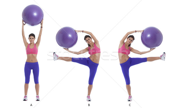 Exercise for lateral abs with a swiss ball Stock photo © blanaru