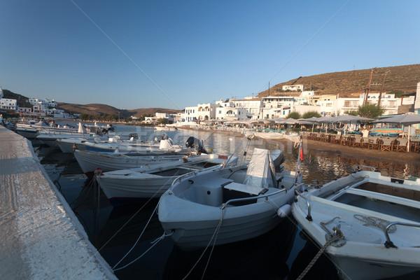 Yunan tekne köprü gündoğumu ada çok Stok fotoğraf © blanaru