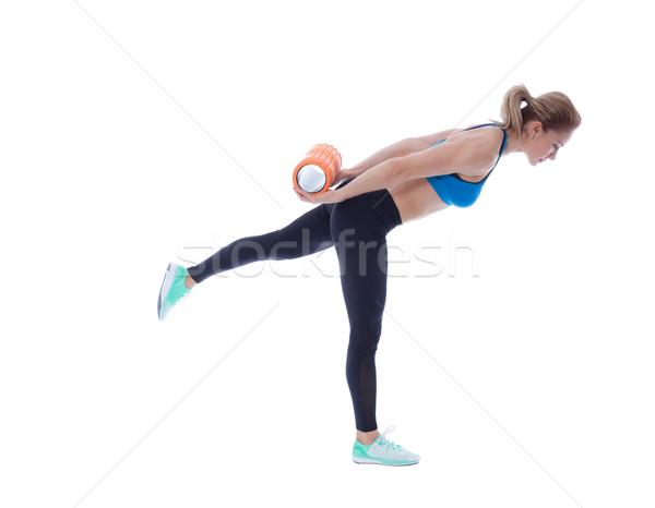 Spuma exercita explicatie femeie corp muscular Imagine de stoc © blanaru