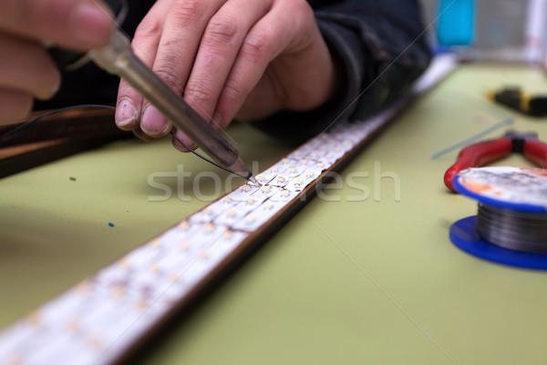 Foto stock: Fabrico · trabalhador · em · linha · reta · linha · negócio · madeira